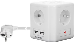 4-way socket cube with switch and 2 USB ports
