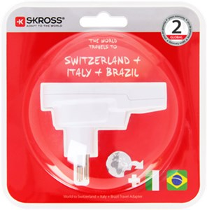 Country Adapter World to Switzerland + Italy + Brazil