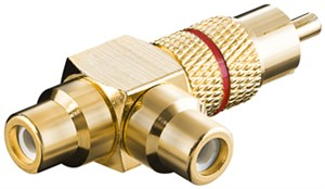 RCA Y adapter; male to 2x female; gold version; red