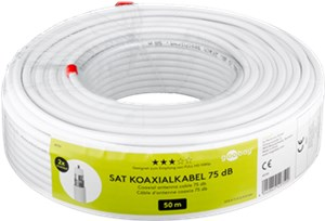 75 dB coaxial antenna cable, 2x shielded, 50 m white
