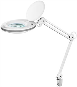 LED clip magnifier lamp with clamp