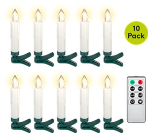10 wireless LED Christmas tree candles