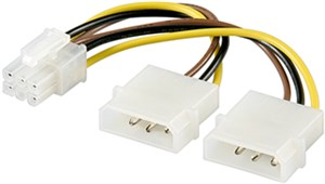 Power cable/adapter for PC graphics card; 6-pin PCI-E/PCI Express
