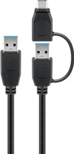 USB 3.0 cable with one USB A to USB-C™ adapter, black