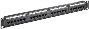 CAT 5e 19 inch (48.3 cm) Patch Panel, 24 Port