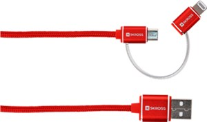 2in1 Charge'n Sync Micro USB & Lightning Connector - Steel Line, red