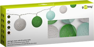 LED light chain with 10 cotton balls, battery-operated