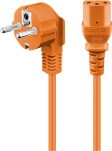 Cold-device connection cord, angled; 2 m, orange
