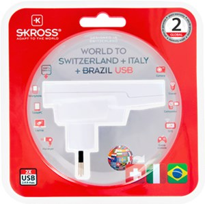Country Adapter World to Switzerland + Italy + Brazil USB*