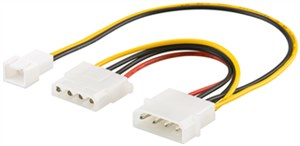 PC Y power cable/adapter; 5.25 inch male to 1x 5.25 inch female and 1x 2-pin fan (12 V)
