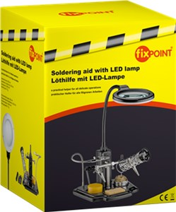 Soldering support with LED lamp