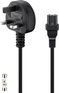 UK - power supply cord; 1.5 m, black