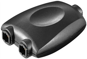 Toslink 1-to-2 digital/audio splitter; black