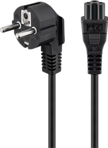 Power supply cord (safety plug), angled; 1.8 m, black