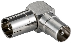 Coaxial angle adapter: Coaxial female > Coaxial male 90°